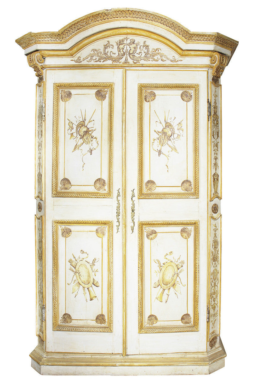 A French Painted Pine Armoire, Circa 18th Century