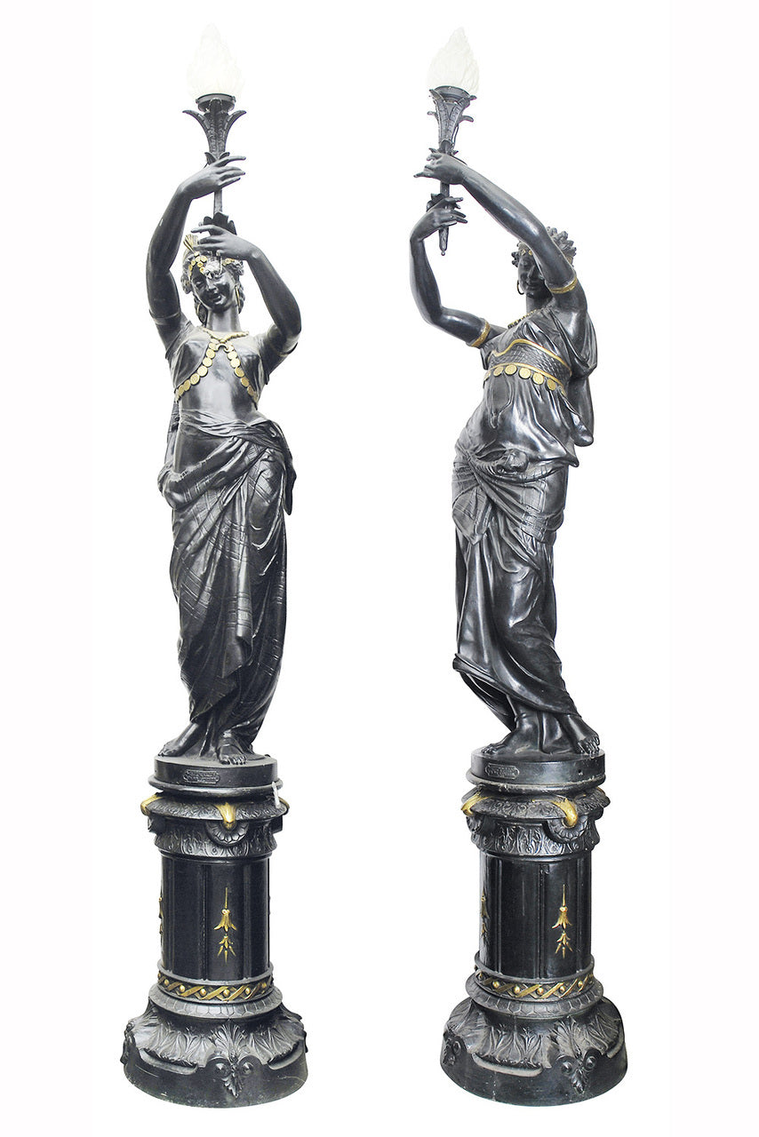 A Superbly Cast French Pair of Iron Figural Candelabra