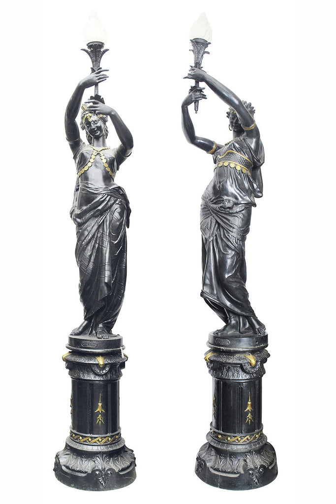 A Monumental Pair of 19th Century French Blackened Cast Iron Figural Torcheres
