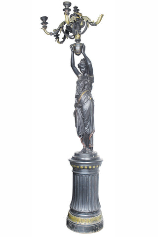 An Impressive French 19th Century Blackened Cast Iron Figural Lamp Stand