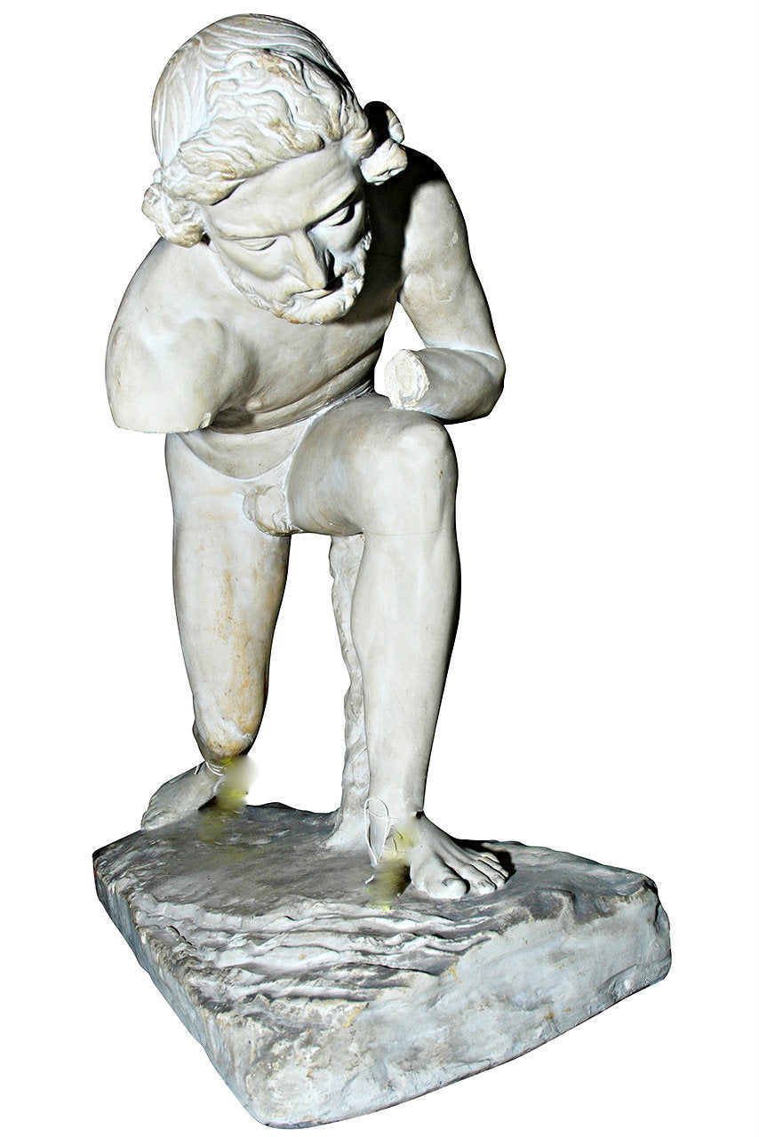 A Classical Style Patinated Plaster Figure of an Athlete