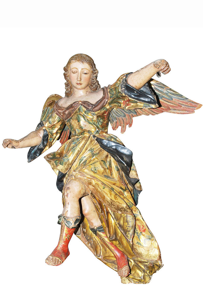 An 18th Century Italian Giltwood  and Polychrome figure of an Angel