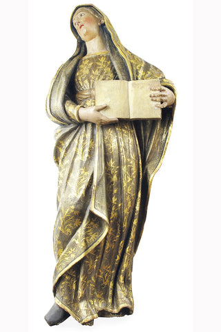 A Carved Devotional Figure of Mary