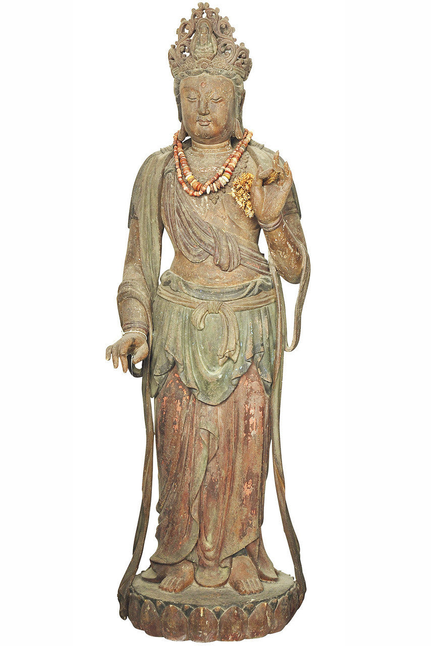 A Carved Wood Standing Figure of a Bodhisattva, Ming Dynasty (1368-1644)