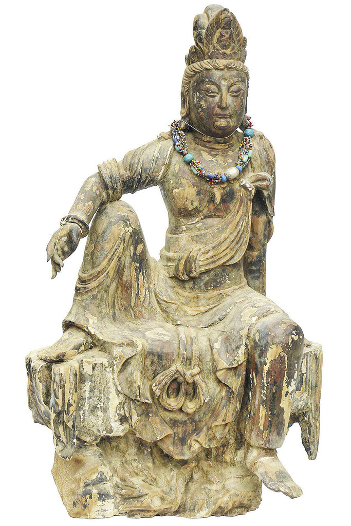 A Chinese Carved Wood Figure of Bodhisattva, Ming Dynasty (1368-1644)