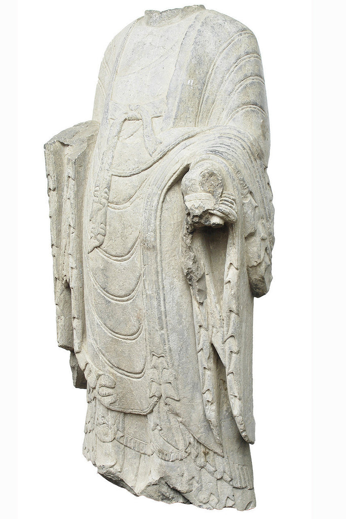 A Northern Wei Period Stone Standing Torso of a Bodhisattva, 5th Century AD
