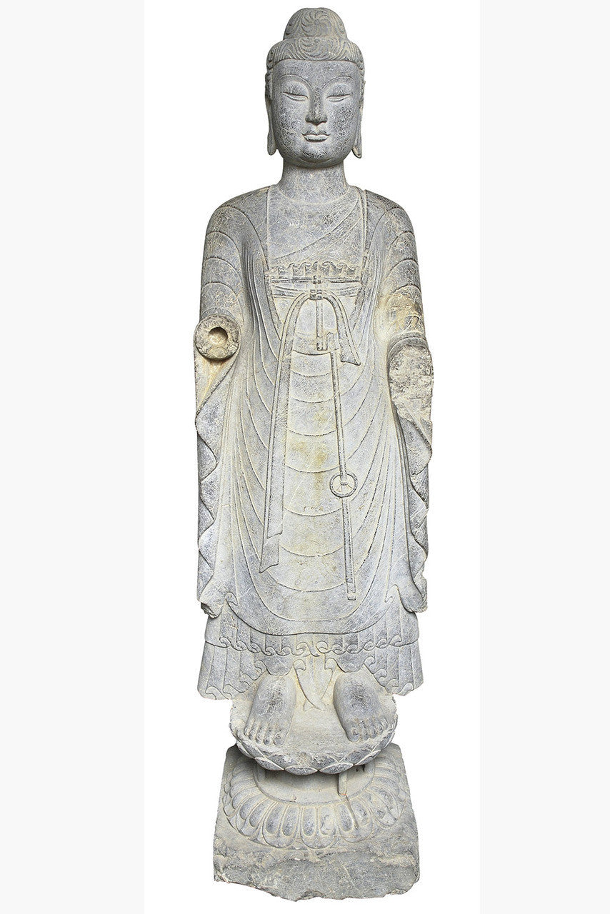 A Northern Wei Period Stone Standing Figure of a Bodhisattva, 5th Century AD