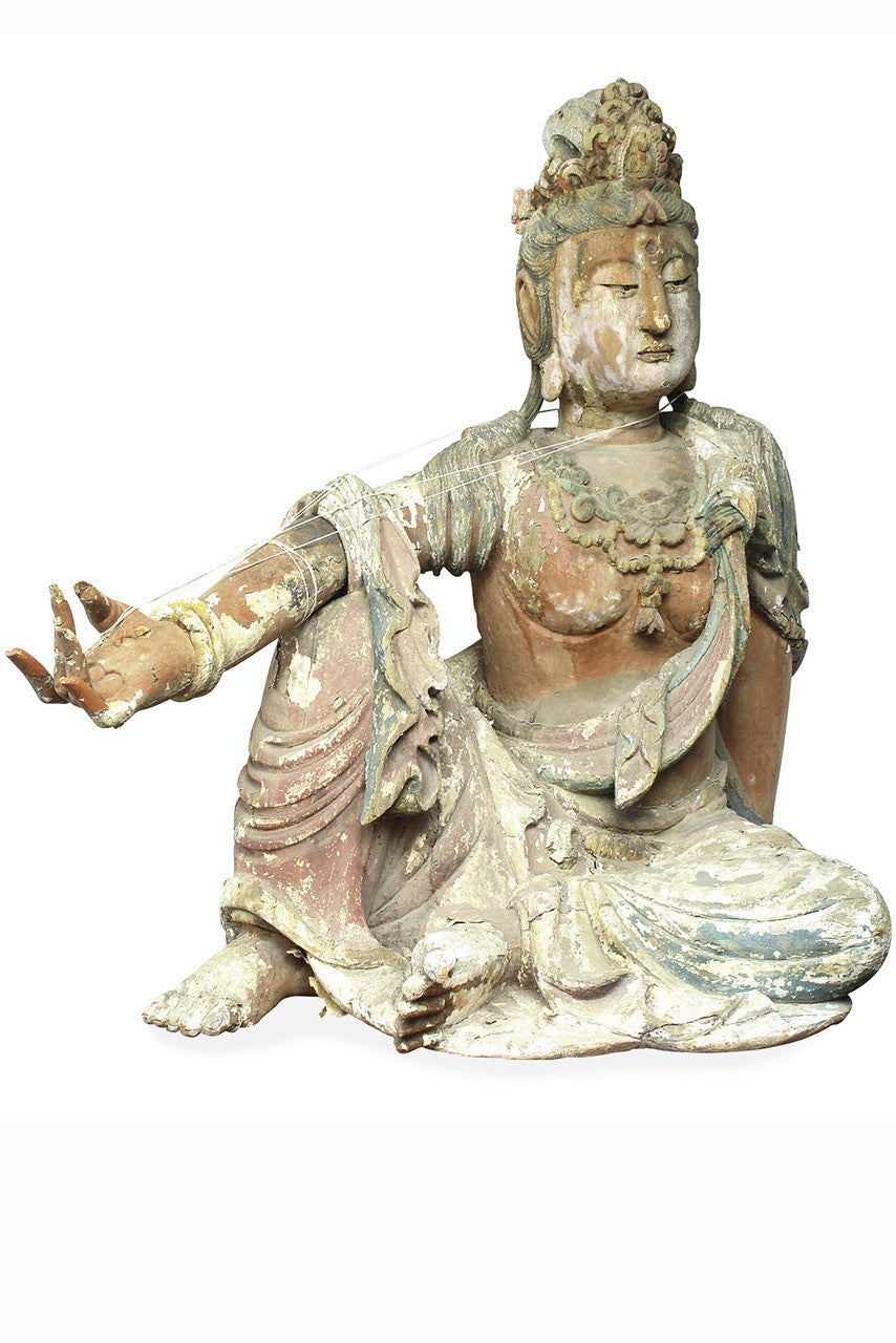 A Chinese Carved Wood Figure of Bodhisattva Guanyin, Ming Dynasty (1368-1644)