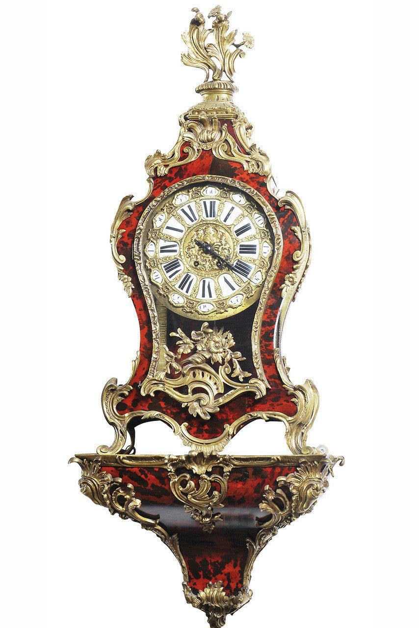 A Mid 19th Century Louis XV Style Scarlet Tortoiseshell and Gilt Metal Mounted Bracket Clock and Bracket