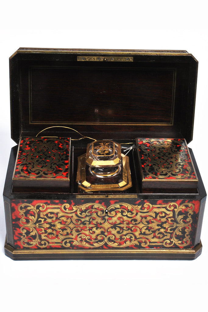 A Rosewood and Cut Brass Inlaid Boulle Tea Caddy, Early 19th Century
