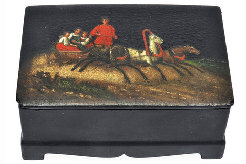 A Russian Papier Mache Troika Box, 19th Century