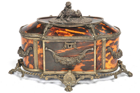 A Neoclassical Style Tortoiseshell Veneered and Metal Mounted Jewellery Casket