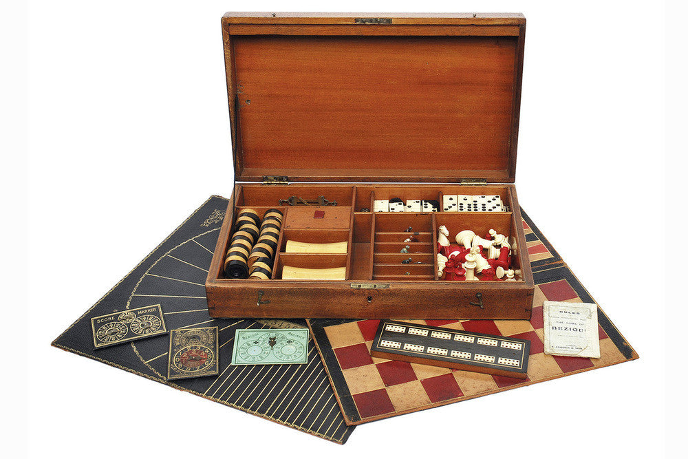 A Timber Games Box With Assorted Paraphernalia, 19th Century