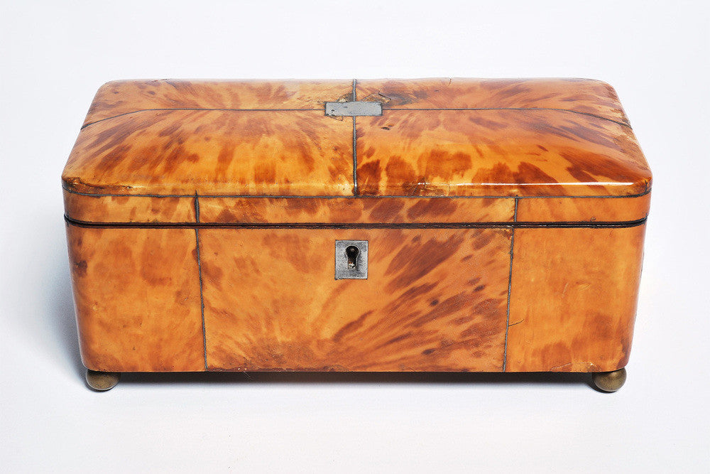 A Victorian Tortoiseshell Veneered Tea Caddy, 19th Century
