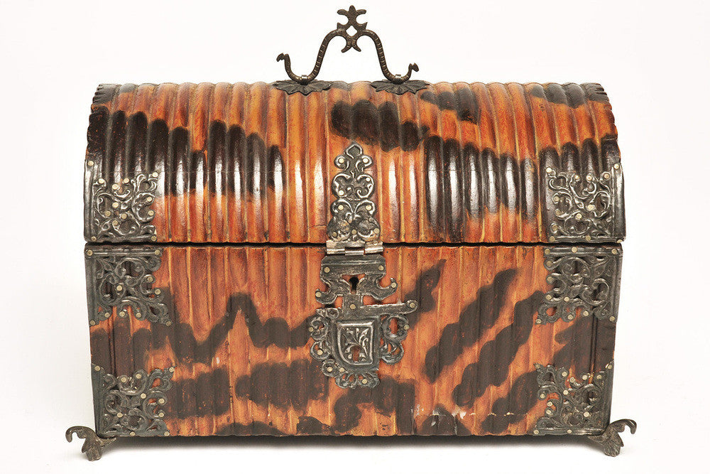 A Carved Faux Tortoiseshell Casket