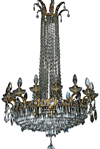 A Crystal and Brass Chandelier