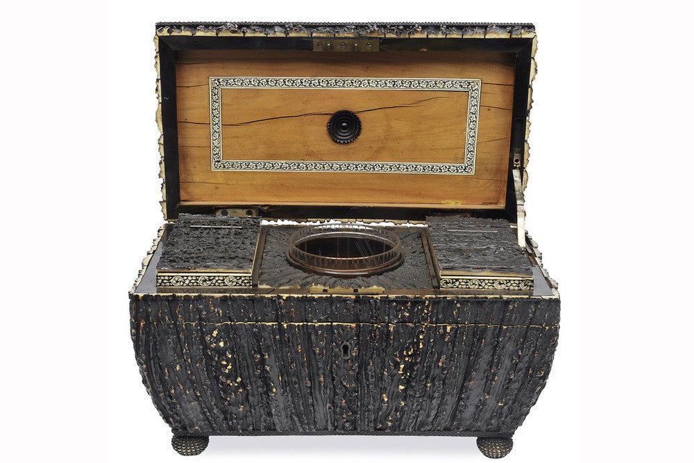 An Anglo Indian Antler Veneered Tea Caddy, 19th Century