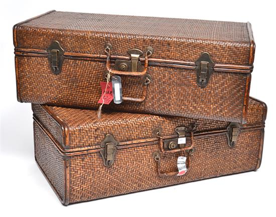 Vintage Chinese Wicker Suitcases