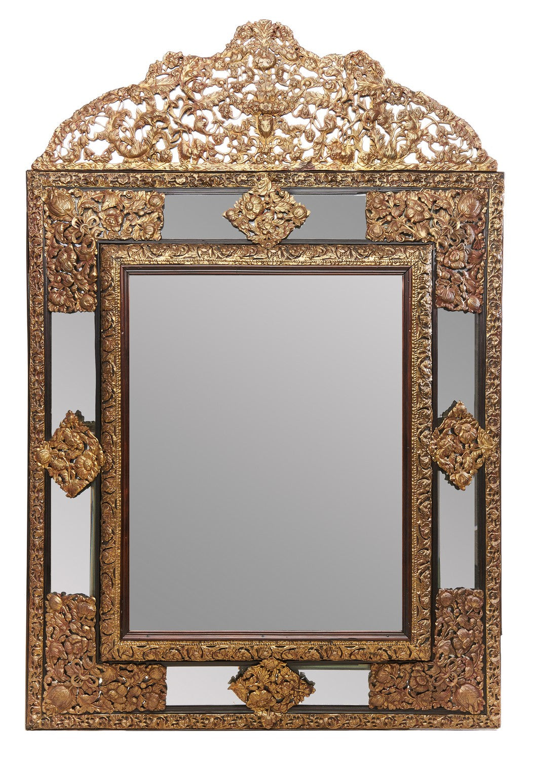 A 19th Century Dutch Cushion Fronted Repousse Mirror