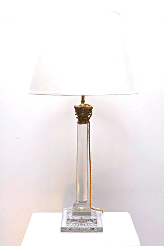 A Round Cut Glass Lamp on Square Base