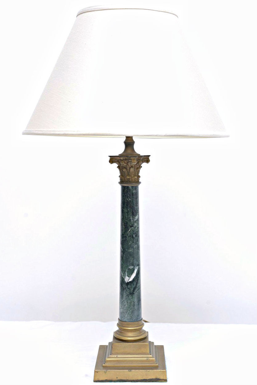 A Pair of Column Faux Marble Lamp