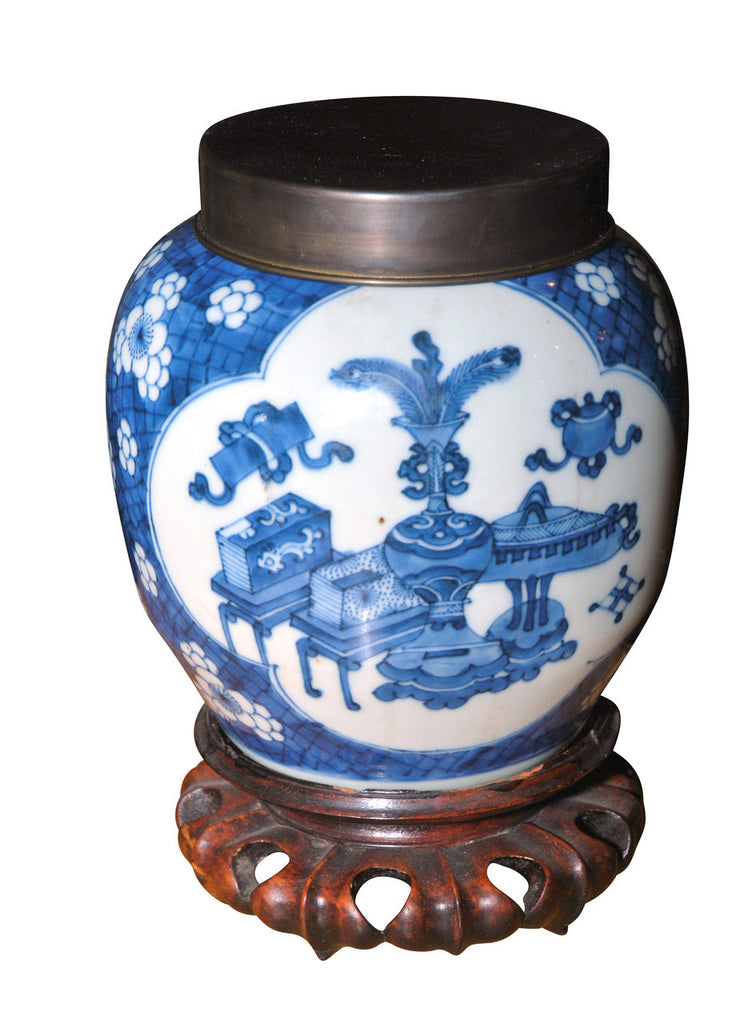 A Chinese Blue and White Vase, Kangxi Mark
