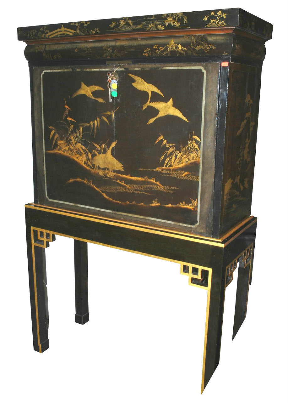 A Late 19th Century Chinese Lacquered Cabinet on Stand