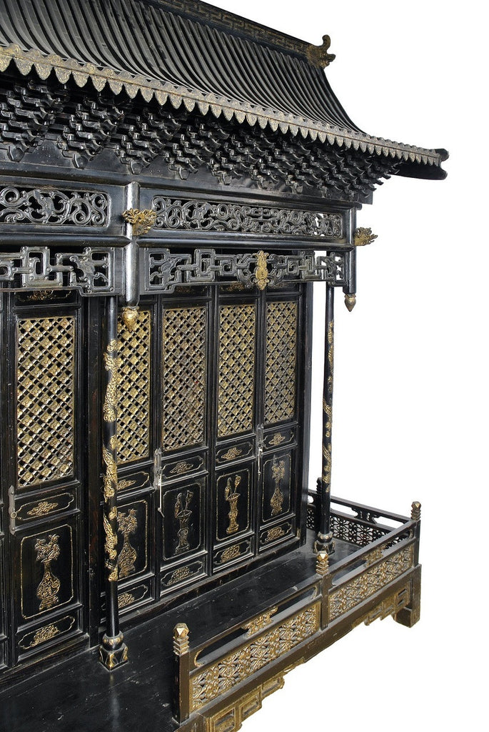 A Chinese Black Lacquered Temple