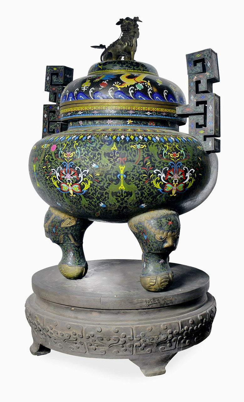 An Impressive Pair of Chinese Cloisonne Covered Censers