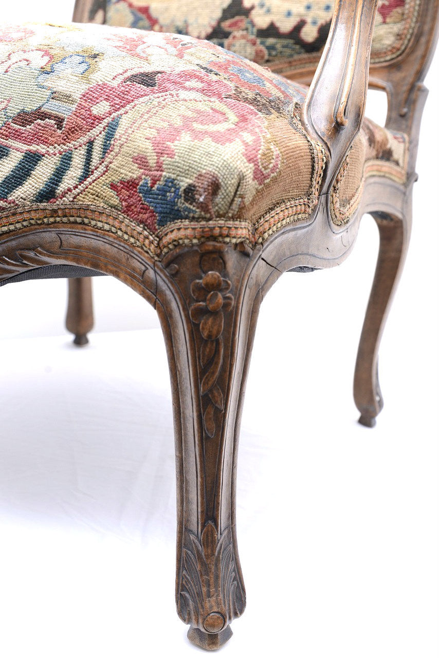 A Pair of Louis XV Walnut Framed Armchairs, 18th Century