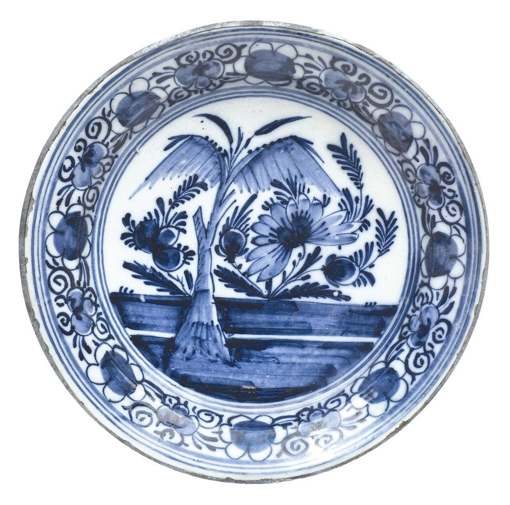 A Chinese Delft Blue and White Plate