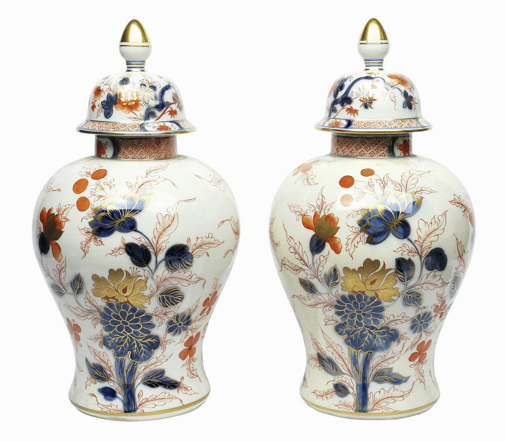A Pair of Samson Imari Style Vases with Covers