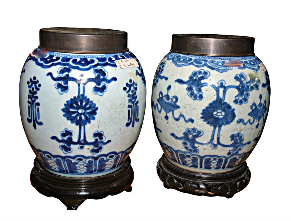 A Pair of Chinese Blue and White Jars, Kangxi Mark