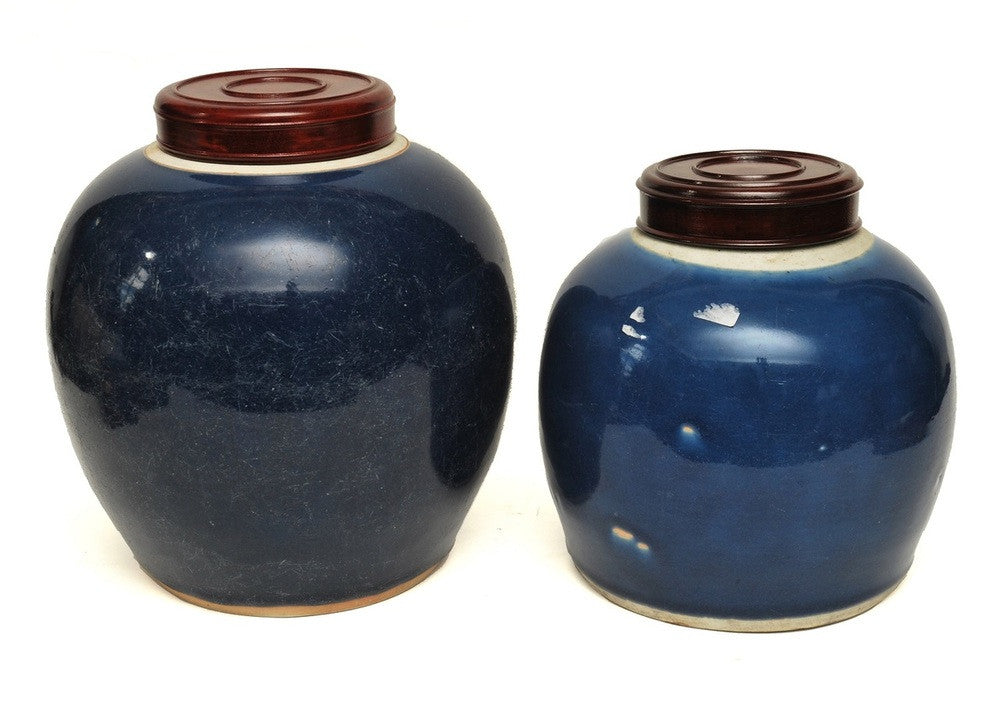 A Pair of  Lidded Ginger Jars, Qinglong Period