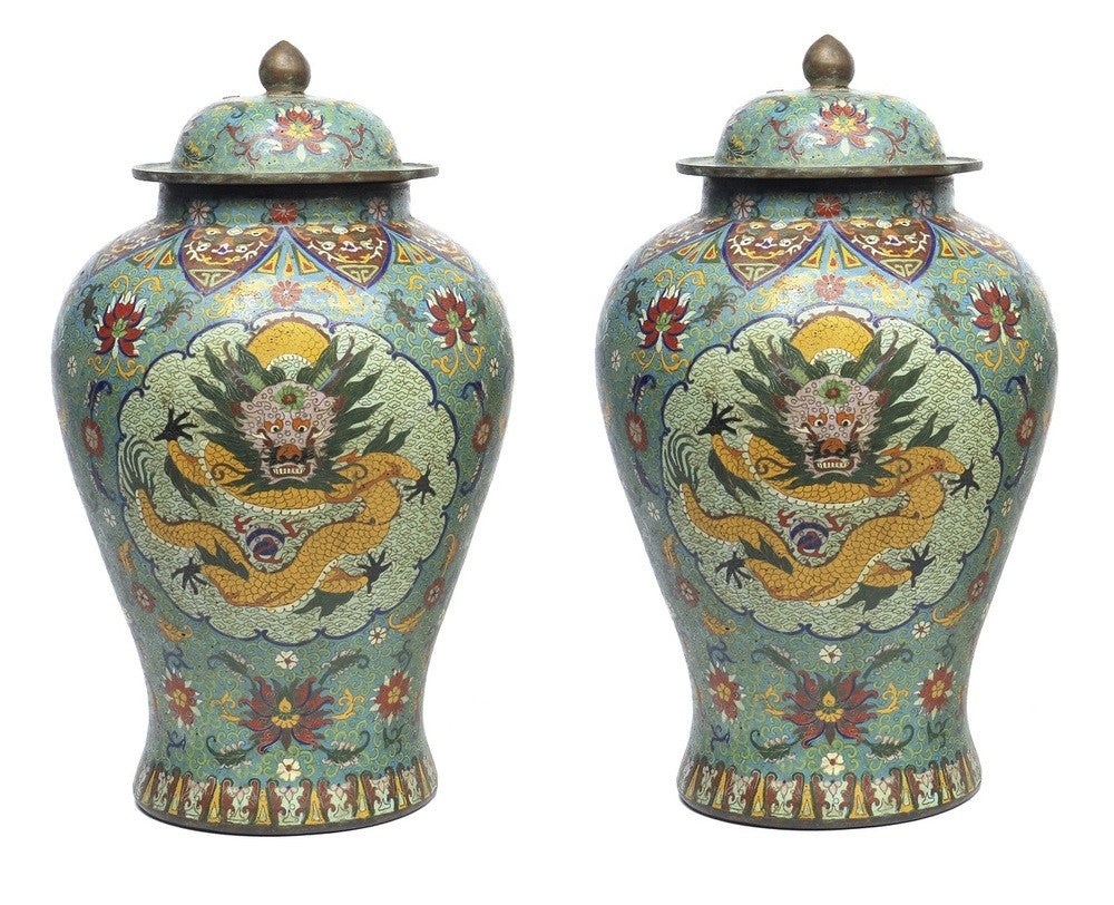 A Pair of Chinese Cloisonne Lidded Jars, Qing Dynasty