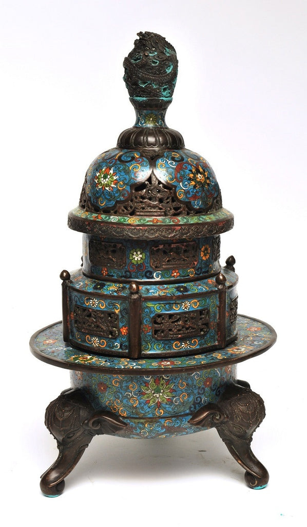 A Chinese Cloisonne Tiered Censer