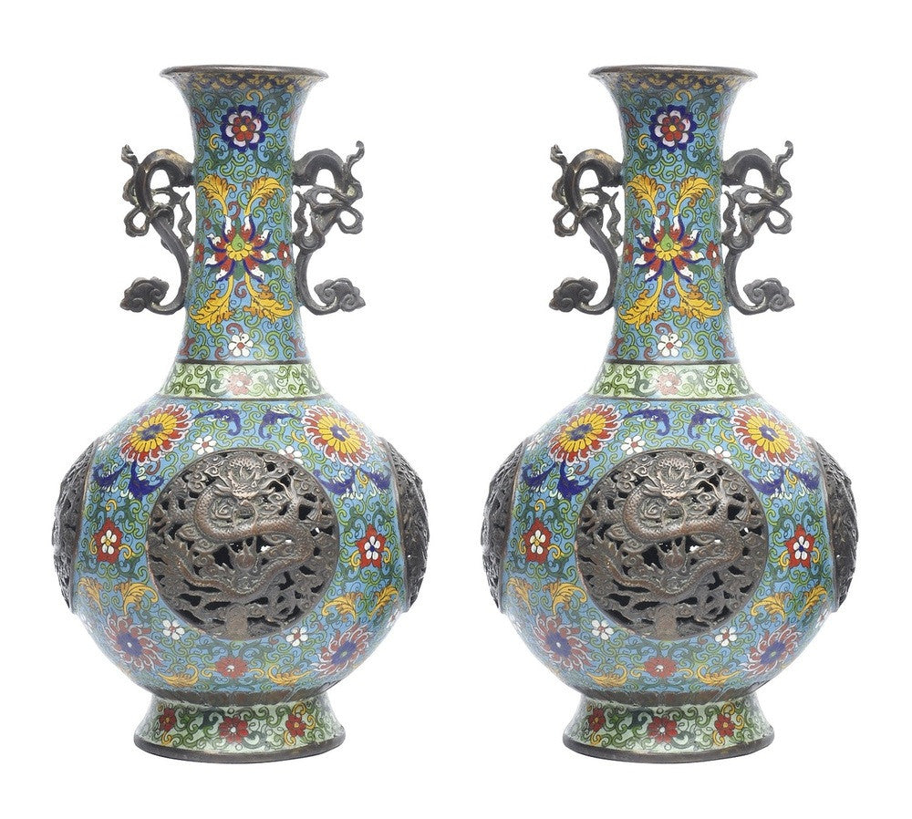 A Pair of Chinese Cloisonne Vases with Pierced Sides, Qianlong Mark