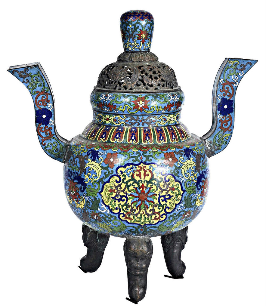 A Chinese Cloisonne Twin Handled Censer, Qianlong Mar