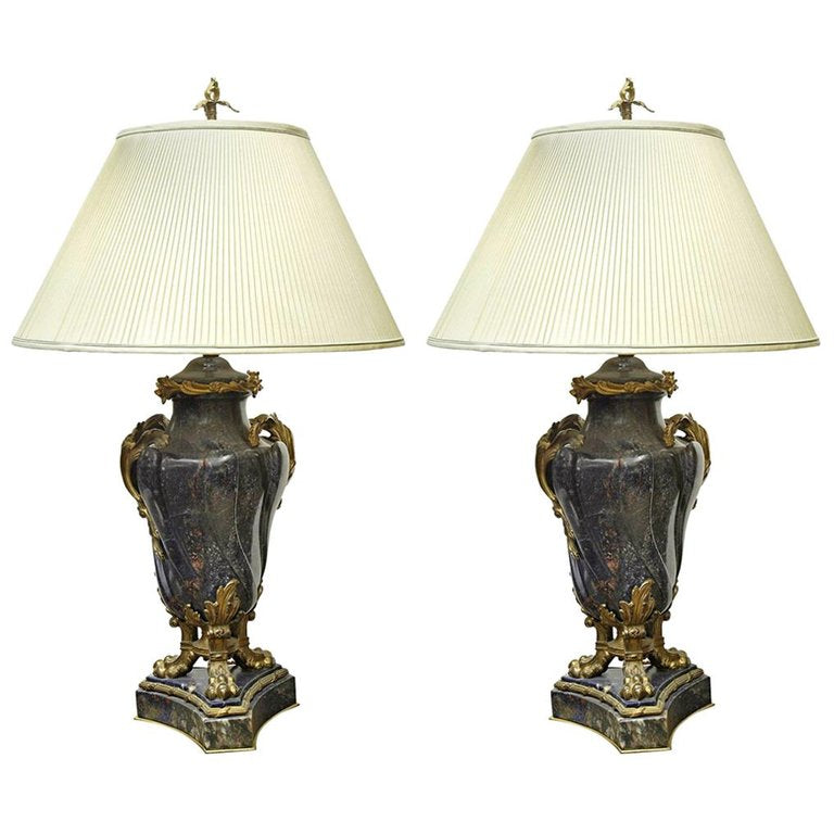 A Pair of French 18th Century Lapis Lazuli Bronze Mounted Cassolettes as Lamps