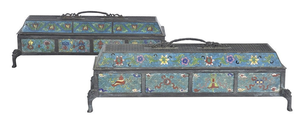 A Pair of Low Rectangular Cloisonne Censers, Qianlong Mark