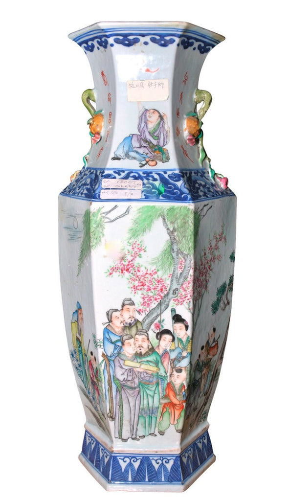 A Chinese Hexagonal Sided Wucai Vase, 19th Century