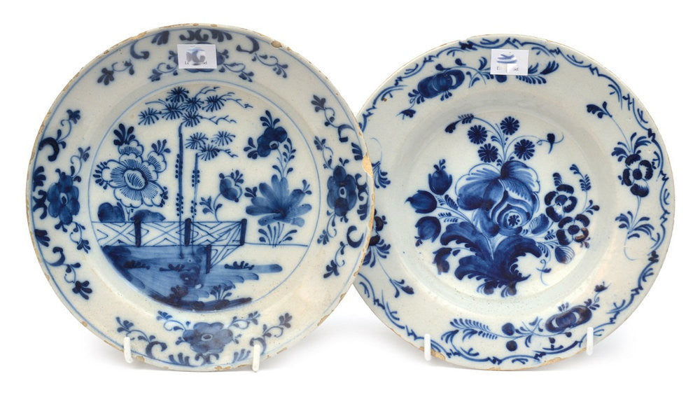 A Pair of Blue and White Plates, 18th Century