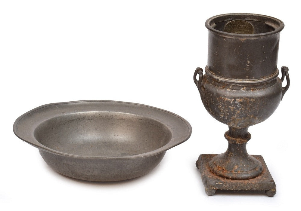 An 18th Century Pewter Goblet and a Basin