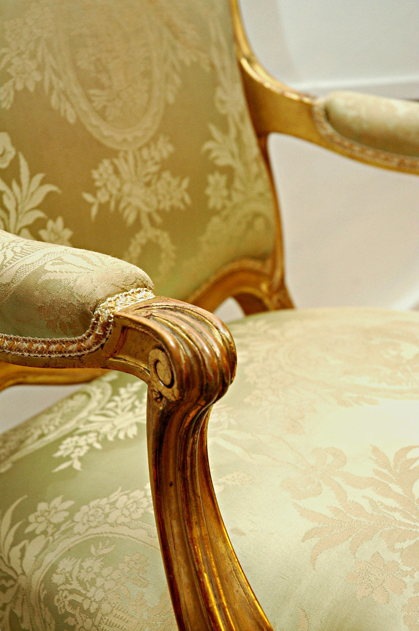 A Pair of Louis XV Giltwood Framed Fauteuils