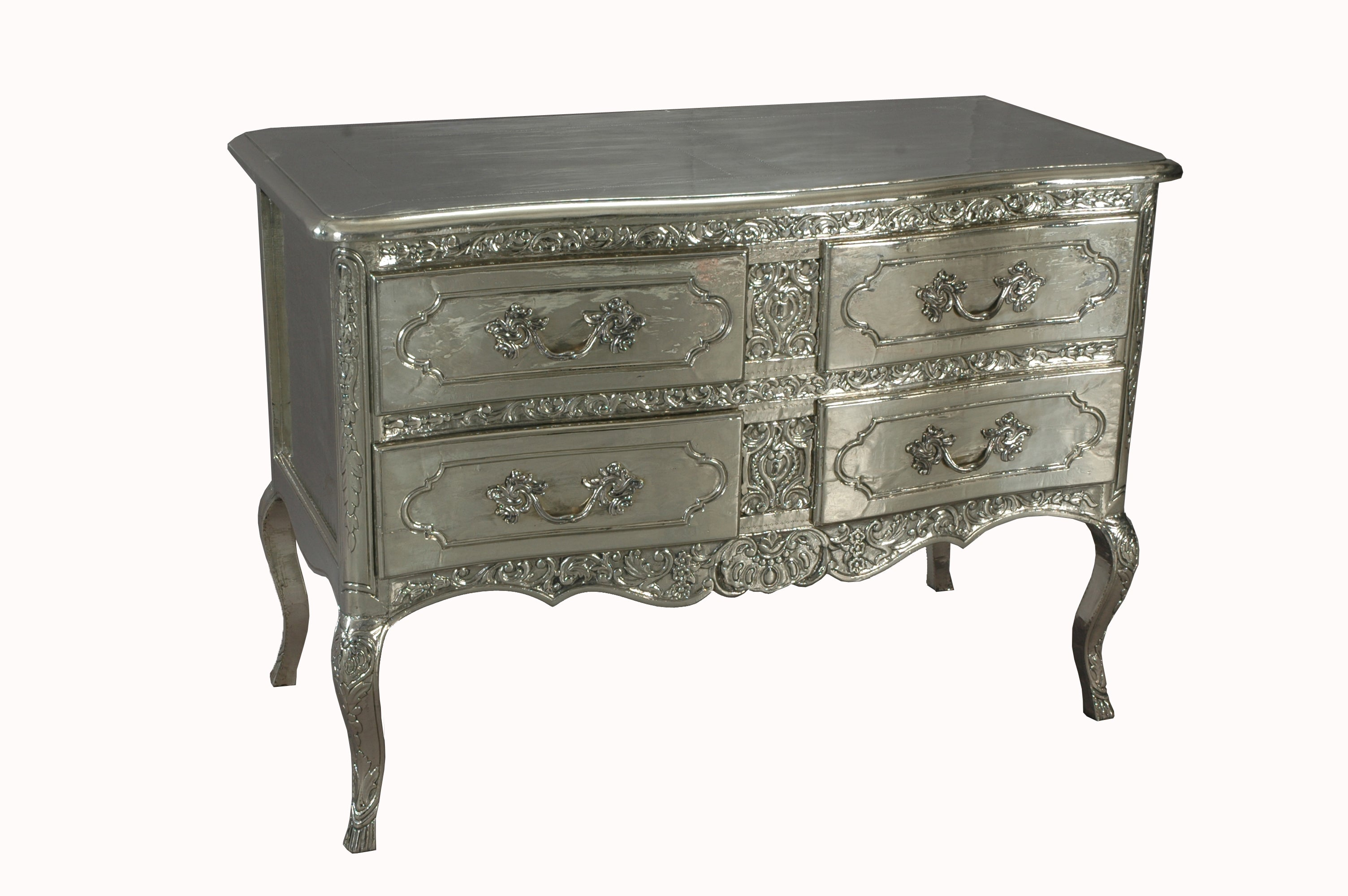 French 18th Century Style Silver Laurent Commode