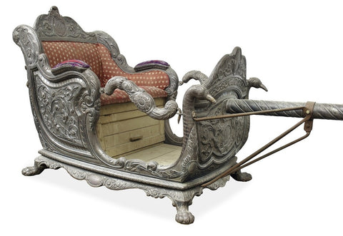 An Early 19th Century Indian Silver Foil Overlaid Palanquin