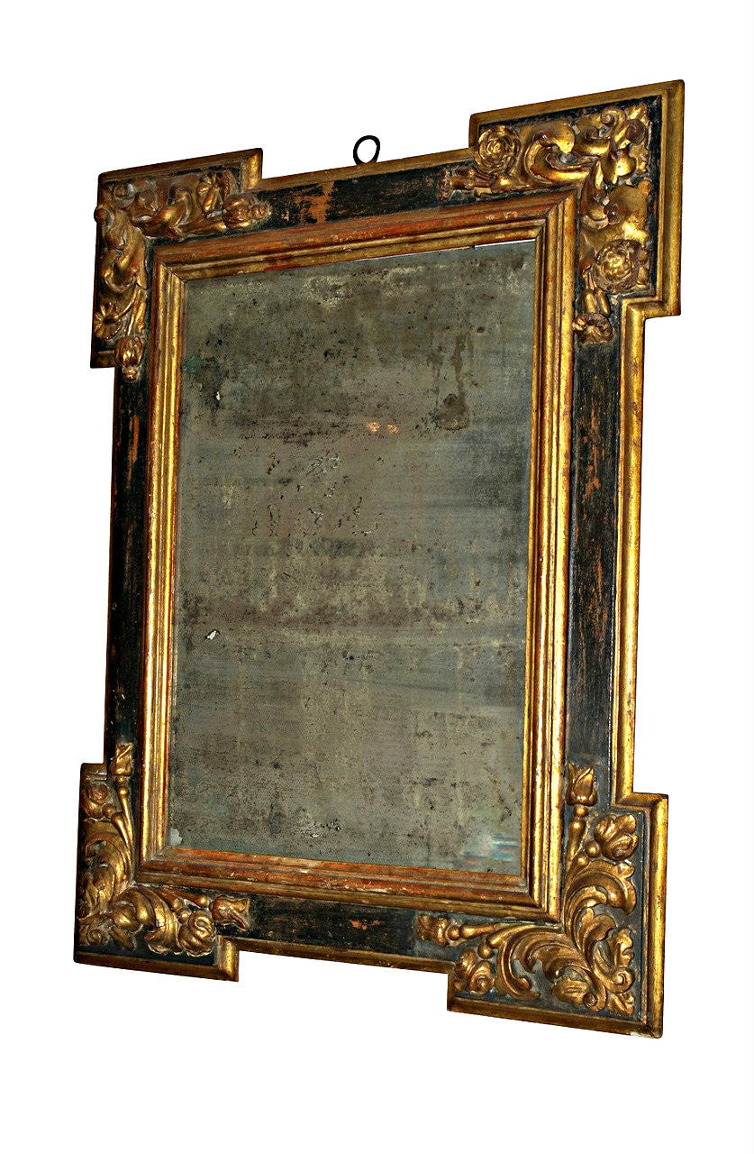 A 17th Century Spanish Gilt Wood and Polychrome Wall Mirror
