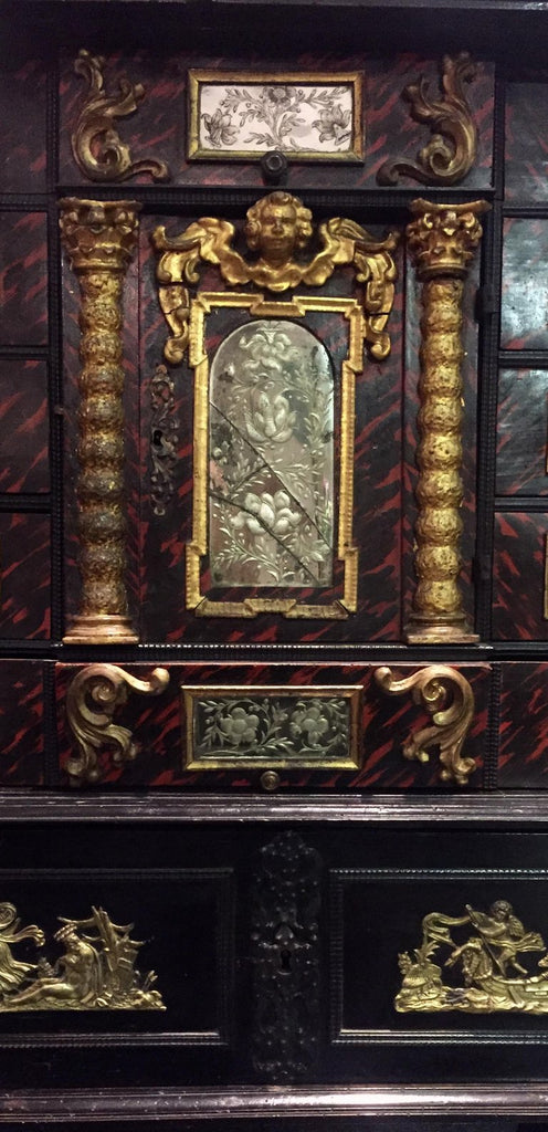 A Black 18th Century Flemish Ebonized Cabinet on Stand with Brass Ornamentation
