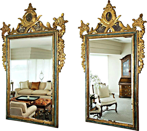 A Pair of Gilt and Polychrome 18th Century Wall Mirrors.