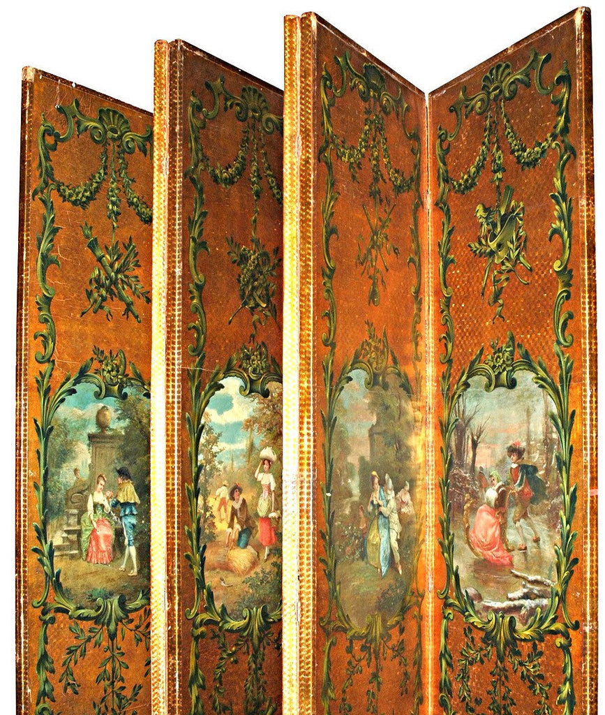 A French Painted Leather Six Panel Screen